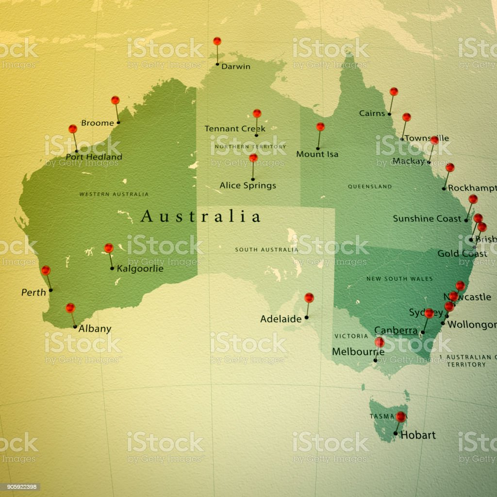 Australia Map With Cities.Australia Map Square Cities Straight Pin Vintage Stock Photo More