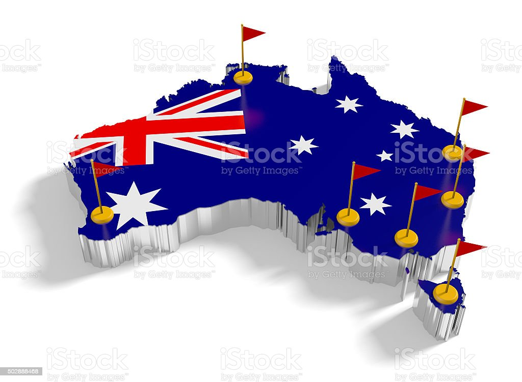 Australia map with flags on the flagpoles showing the major cities. stock photo