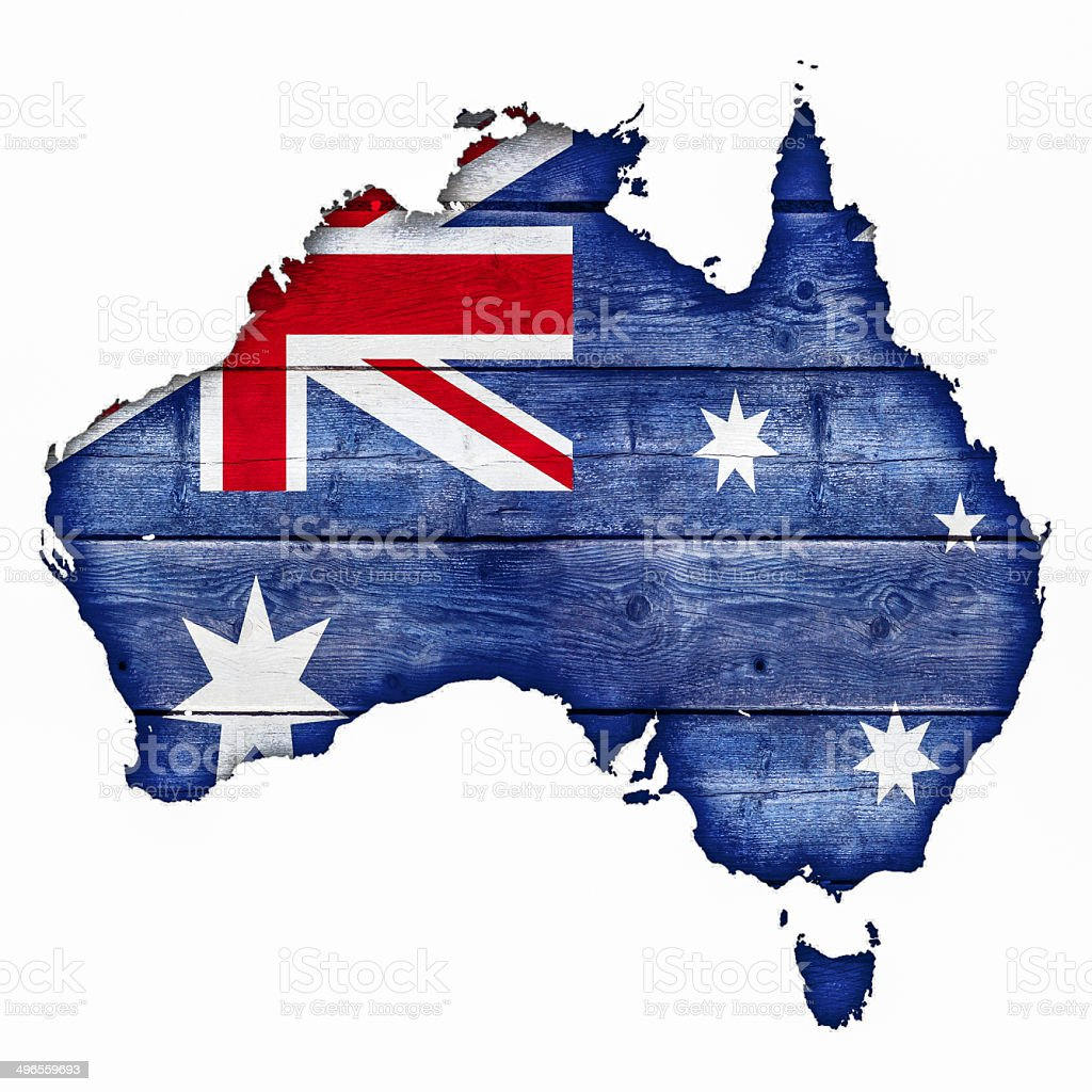 Australia Map - Wood stock photo