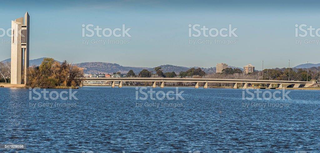 Australia National Carillon and Kings Avenue Bridge stock photo