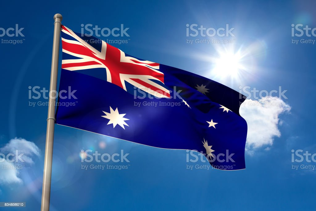 Australia national flag on flagpole stock photo