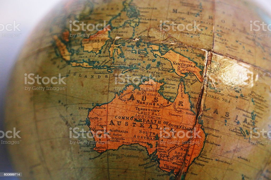 Australia of the old terrestrial globe stock photo
