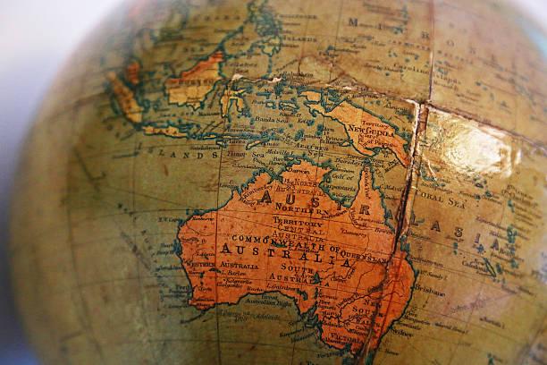 Australia of the old terrestrial globe - foto de stock