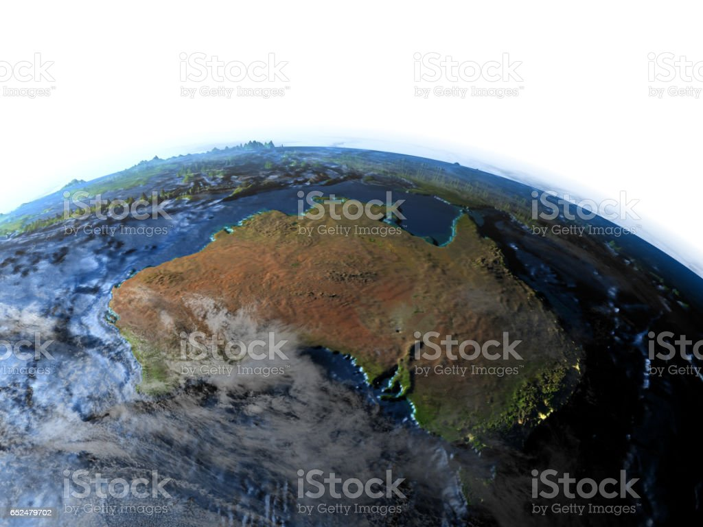 Australia on Earth - visible ocean floor stock photo