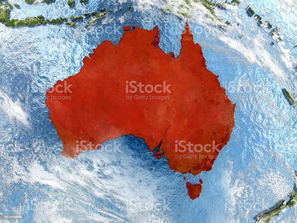 Australia on map with clouds stock photo