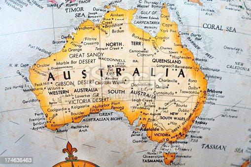 australia on old globe map stock photo more pictures of australia istock
