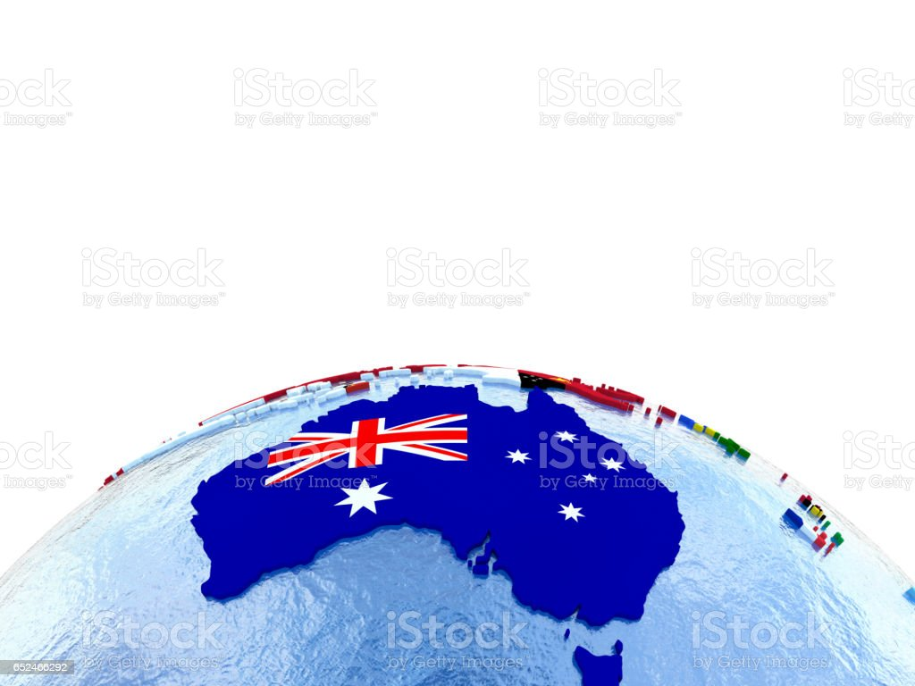 Australia on political globe with flags stock photo