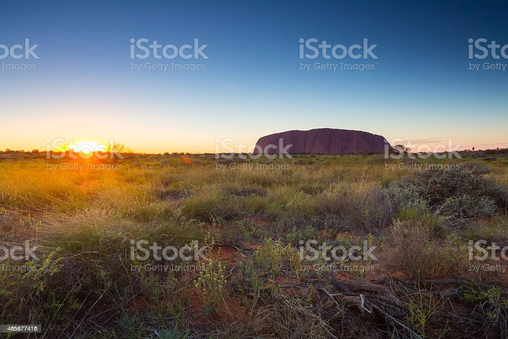 Australia outback landscape view in morning. stock photo