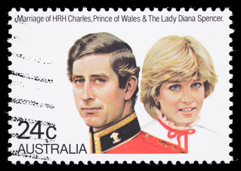 Sacramento, California, USA - April 15, 2011: A 1981 Australia postage stamp commemorating the July 29, 1981 wedding of  HRH Charles, The Prince of Wales and The Lady Diana Spencer.