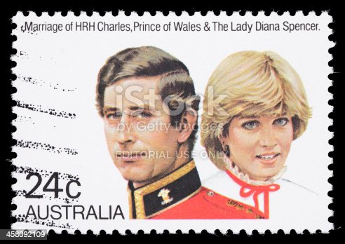 istock Australia Prince Charles and Diana royal wedding postage stamp 458092109