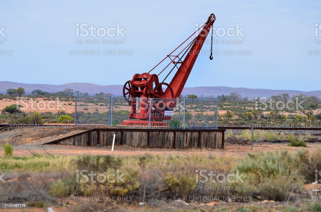 Crane in old Olary railroad station on Barrier Highway in South...