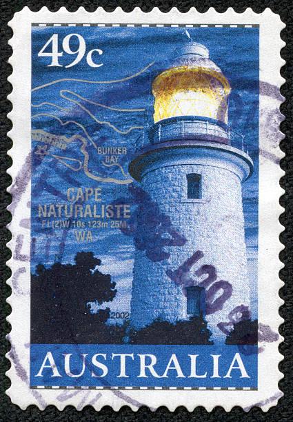 Australia stamp shows Fire tower on Cape Natureliste WA stock photo