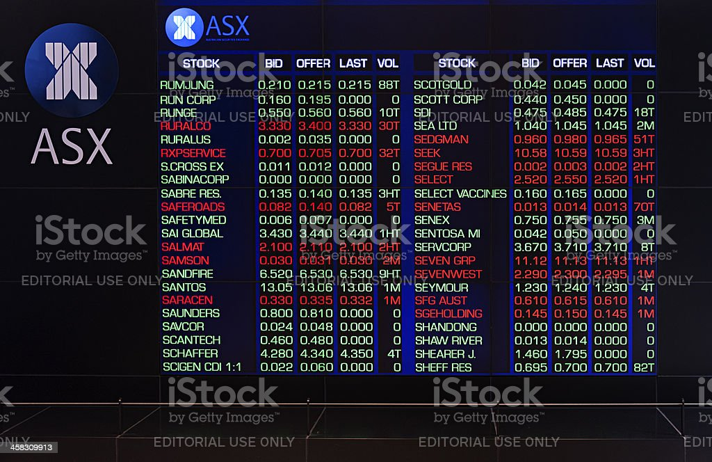 ASX Australia Stock Exchange stock photo