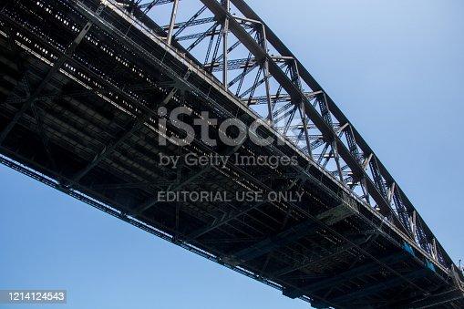 Detail of the structure of the Sydney Harbour Bridge that spans across Sydney Harbour.