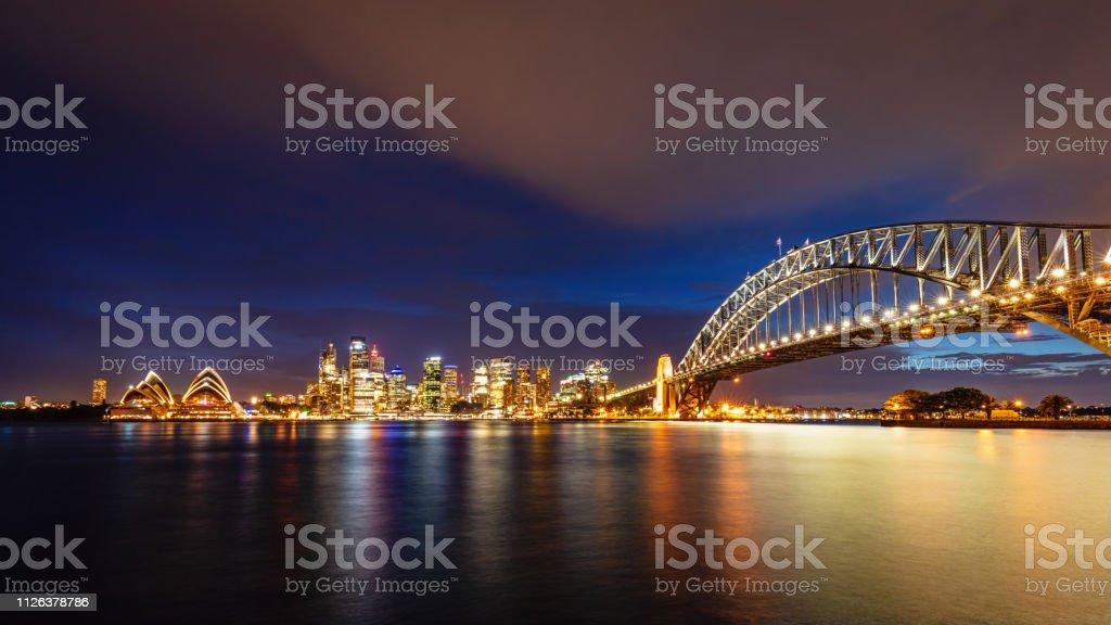 Australia Sydney Skyline with Sydney Harbour Bridge at Twilight stock photo