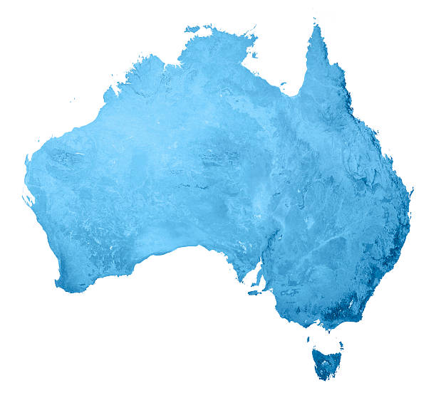 Australia Topographic Map Isolated stock photo