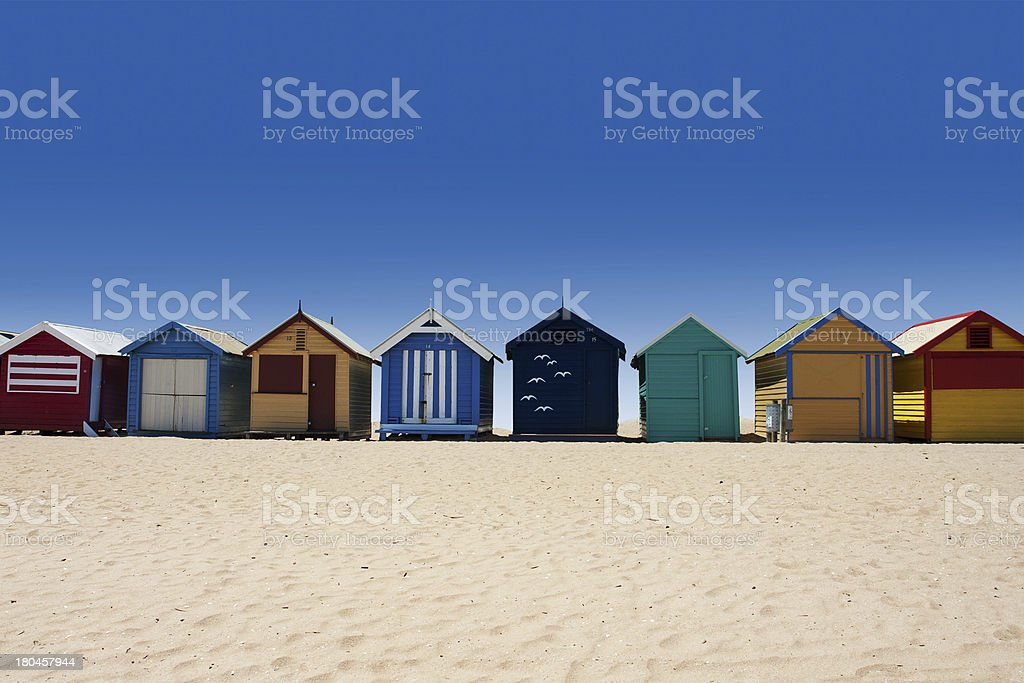 Australia tour to Brighton Beach bathing boxes stock photo