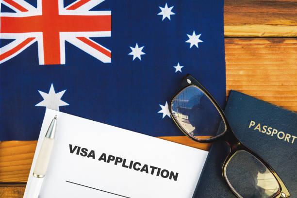Australia visa application stock photo