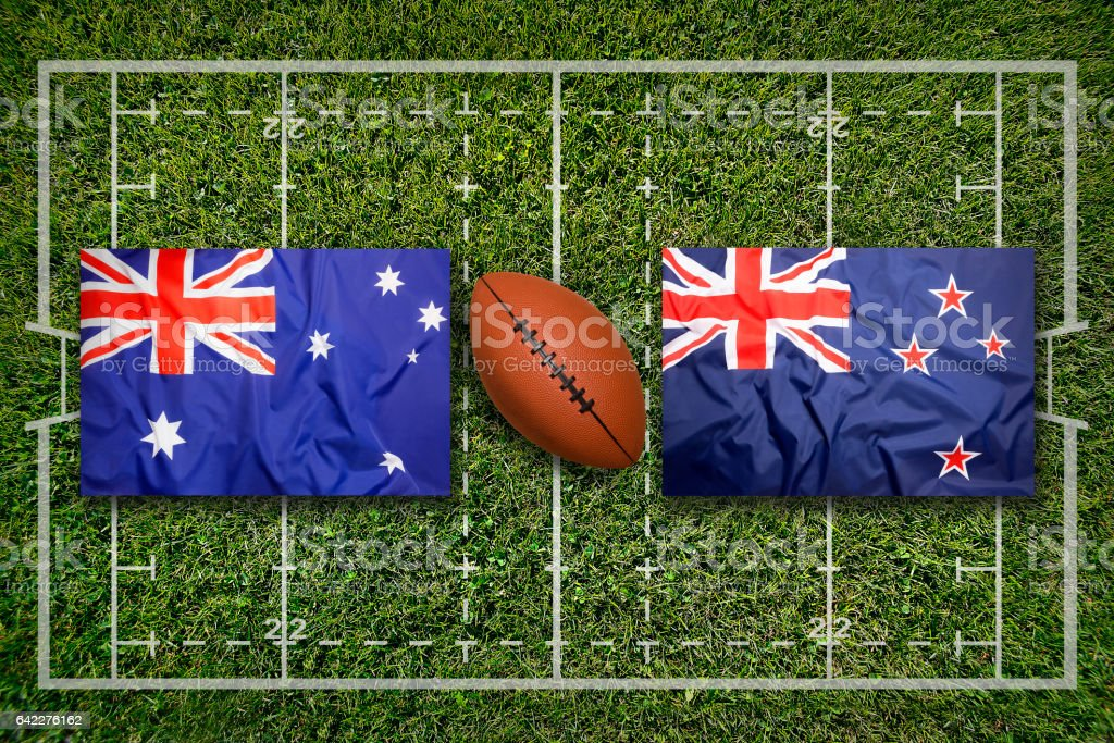 Australia vs. New Zealand on rugby field stock photo