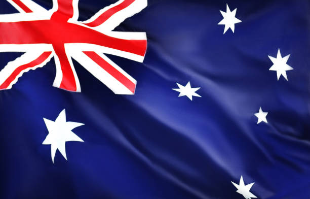 Australia waving flag stock photo