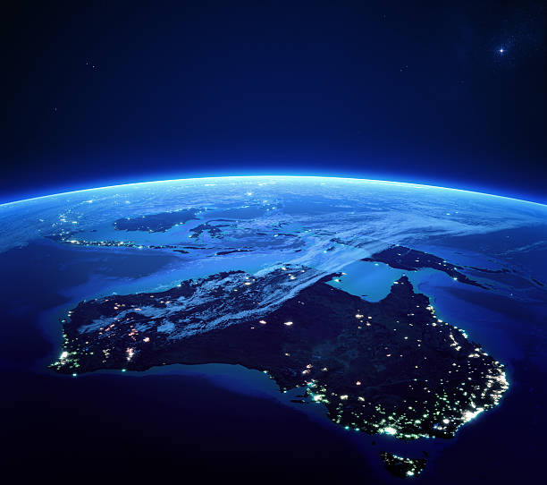 Australia with city lights from space at night Australia with city lights from space at night - Earth daytime series (Elements of this 3d image furnished by NASA -  source maps from http satellite view stock pictures, royalty-free photos & images