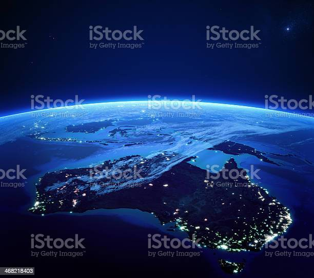 Photo of Australia with city lights from space at night
