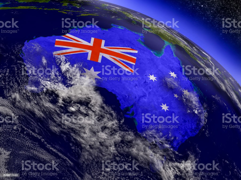 Australia with embedded flag on Earth stock photo