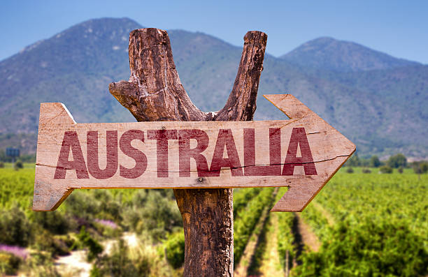 Australia wooden sign with winery background stock photo