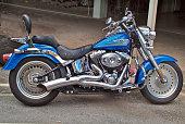 Darwin, NT, Australia - April 28, 2010: Tuned motor bike Harley Davidson on street, a biker's darling