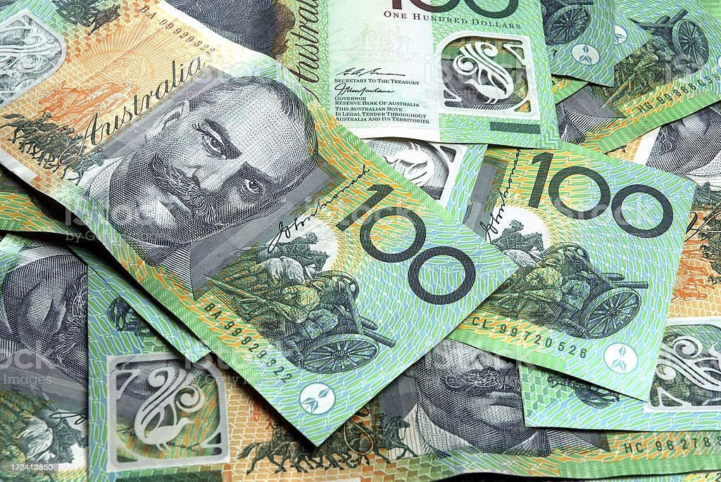 Australian 100 dollar notes stock photo