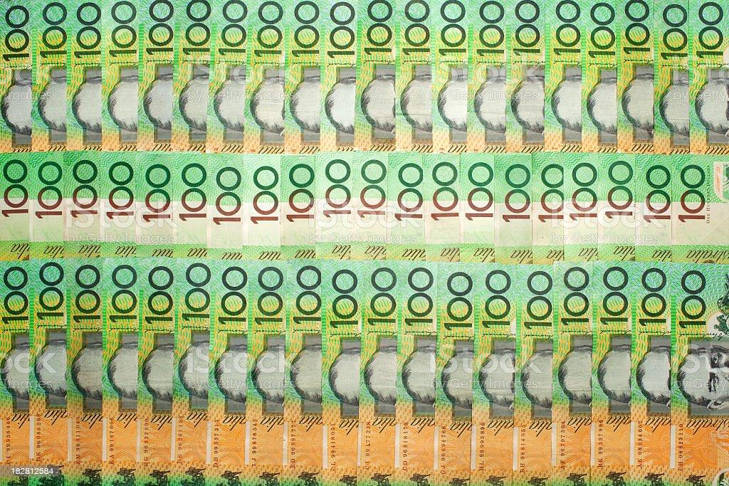 Australian 100 dollar notes. royalty-free stock photo