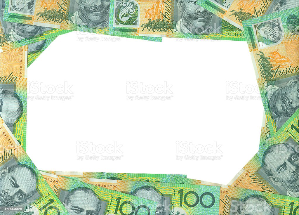 Australian 100$ Frame Isolated (clipping path) royalty-free stock photo