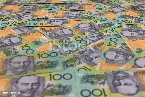 Focus on Background - Centre View Point - Close up on Australian 100 Hundred Dollar Banknotes