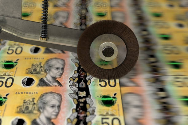 Australian 50 Dollar banknotes being printed Australian 50 Dollar banknotes printing devaluation stock pictures, royalty-free photos & images