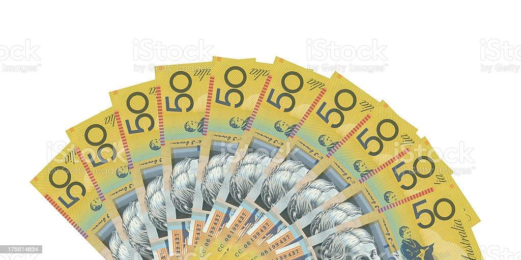 Australian 50$ Notes background isolated on white stock photo