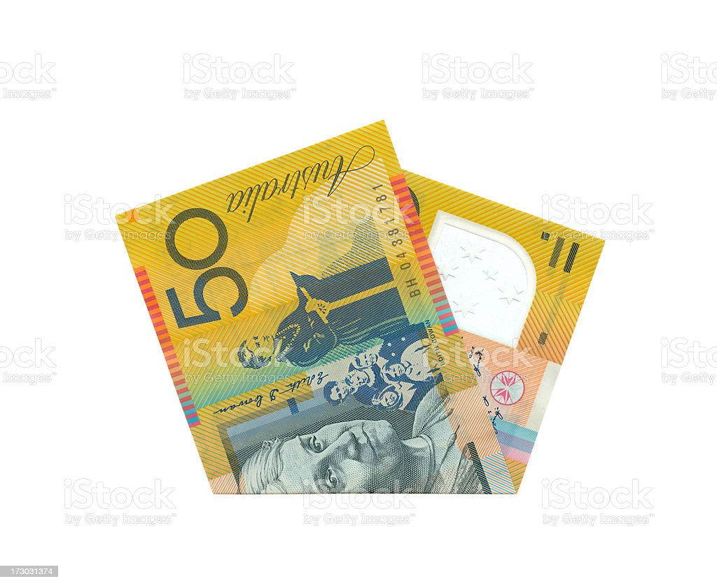 Australian 50$ Notes Isolated (clipping path) royalty-free stock photo