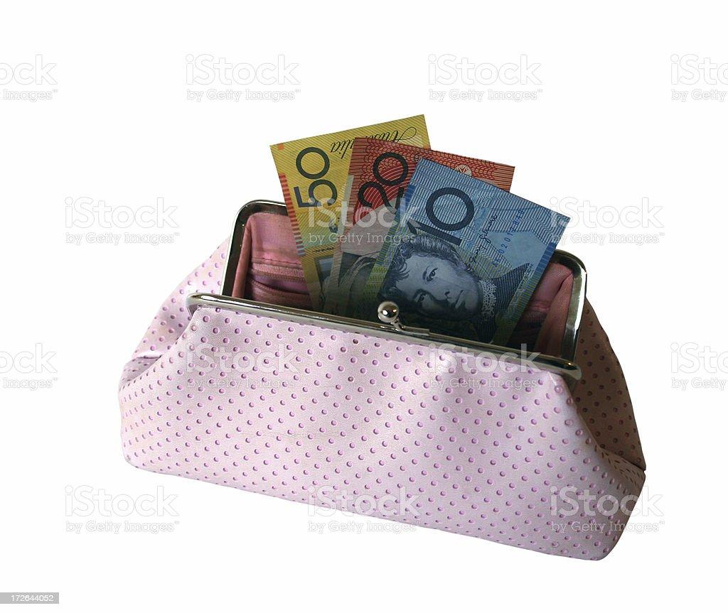 Australian 80 in pink purse royalty-free stock photo