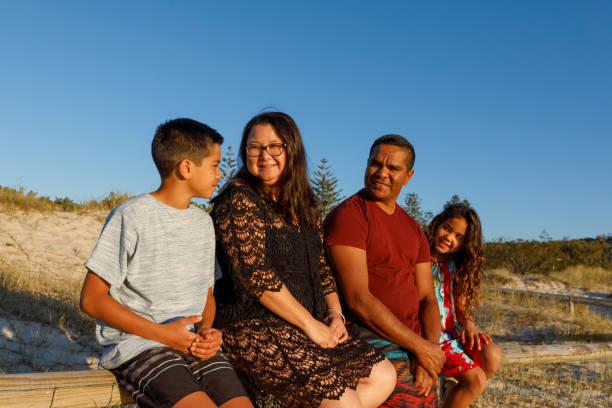 Australian Aboriginal Family stock photo