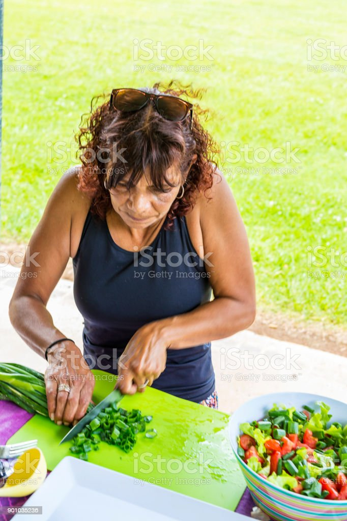 Australian Aboriginal Woman Preparing to Cook a BBQ in a Public Park stock photo
