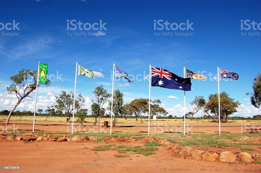 Australian and aboriginal flags stock photo
