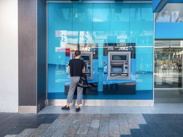 Australian ANZ Bank and Cash Machine stock photo
