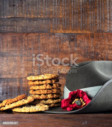 istock Australian army slouch hat and traditional Anzac biscuits 486998491