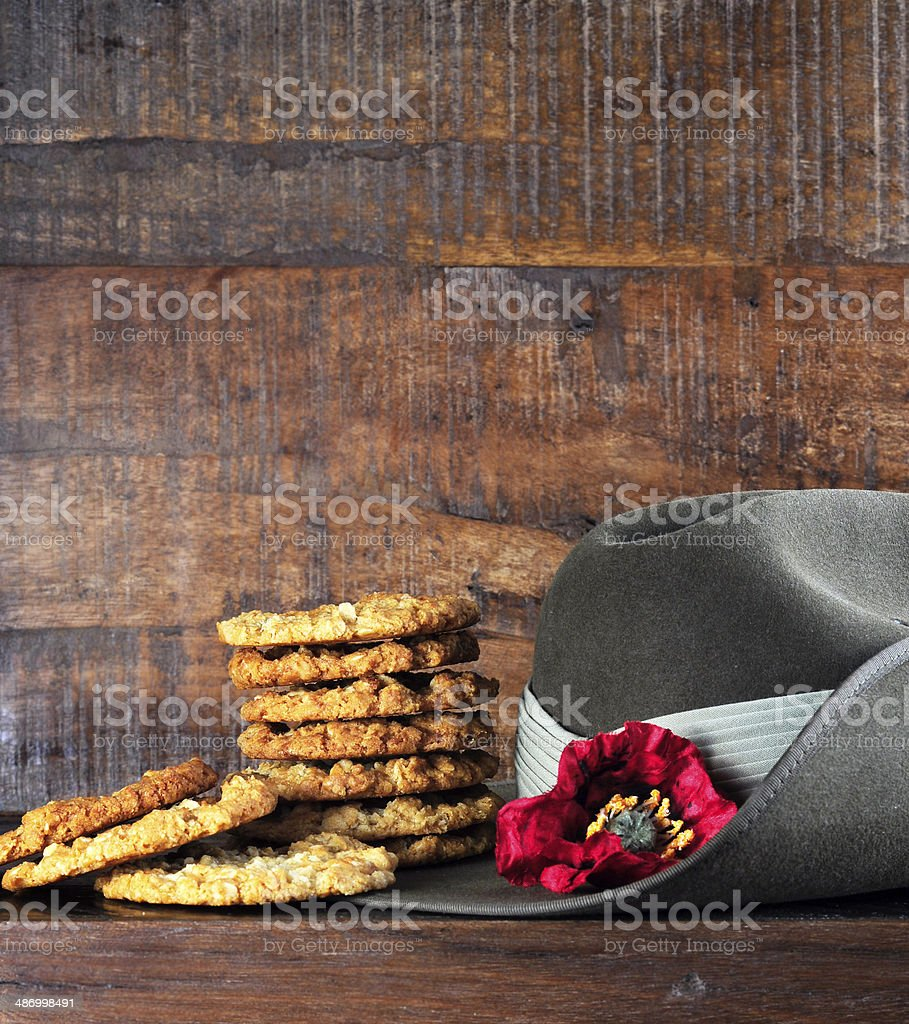 Australian army slouch hat and traditional Anzac biscuits stock photo