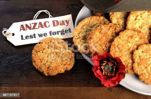 istock Australian army slouch hat and traditional Anzac biscuits 487157917