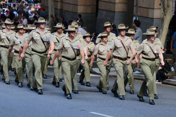 Australian Army soldiers marching stock photo