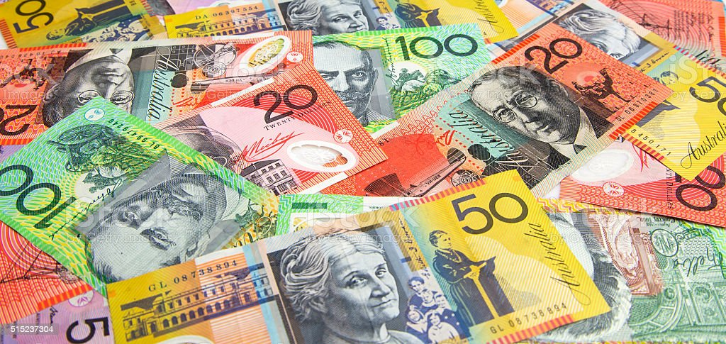 Australian banknotes spread out in panorama format. stock photo