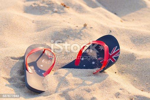 959792752 istock photo Australian beach with thongs stuck in the sand 537677643