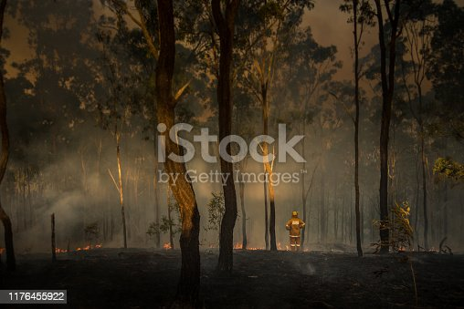 istock Australian Bush Fires - Loan Firefighter Observes Damage 1176455922