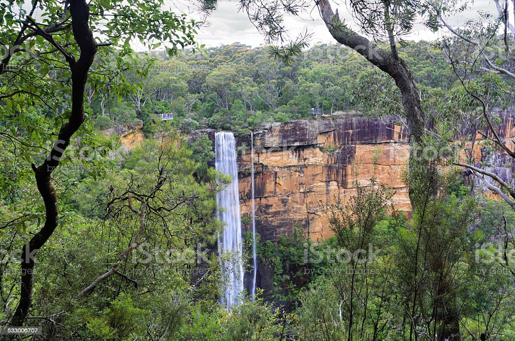 Australian bush view of Fitzory Falls stock photo