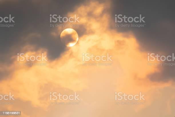 Photo of Australian bushfire: Smoke from bushfires covers the sky and glowing sun barely seen through the haze. Catastrophic fire danger, NSW, Australia